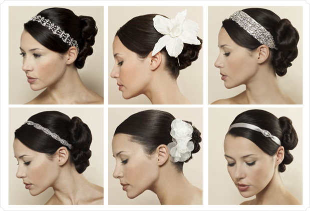 bride with frangipanis in hair. long wedding hair with veil