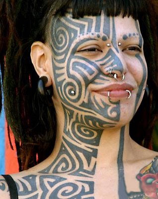 Most Tribal Tattoos Best Design on Women Face