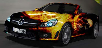 Skull Fire Airbrush Designs on Mercedes CLK