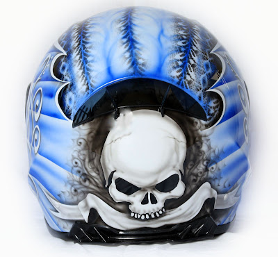 Blue skull airbrushed designs on sport helmet 2