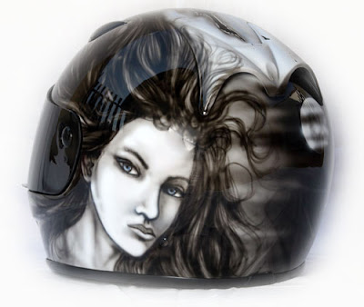 Beauty and the Wolf Airbrush Designs on Marushin Helmet 2