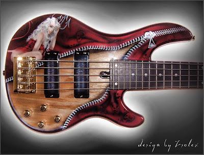 Rock n Roll Airbrush Designs on Bass Guitar 1
