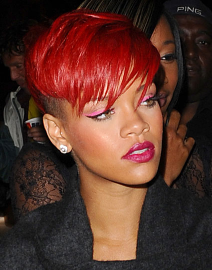 Funky Bright Red Undercut Hairstyle by Rihanna