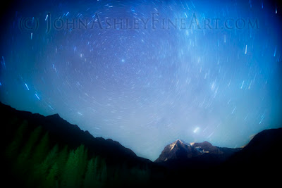 Short startrails with in-camera batteries only, Mount Robson, the highest peak in the Canadian Rockies (c) John Ashley