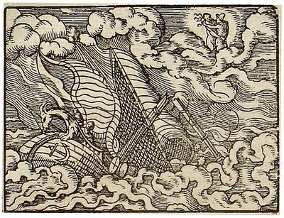 Detail from 'Alcyone praying juno' (Public domain engraving from 1581 by Virgil Solis, Frankfurt, Germany)