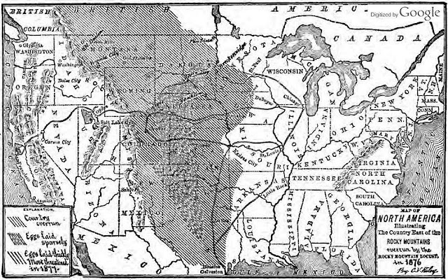 Map of suspected Rocky Mountain Locust breeding and swarming locations in 1876, from U.S. Entomological Society (public domain document)