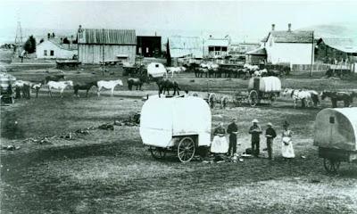 Settlers in Lewiston, MT, circa 1880 (public domain photograph)