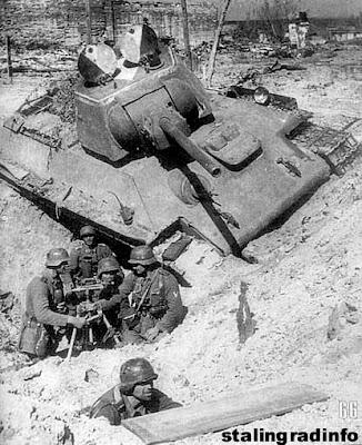 t 34 tank stalingrad  German soldier behind a