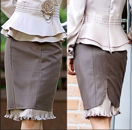 Frilled Hem Pencil Skirt