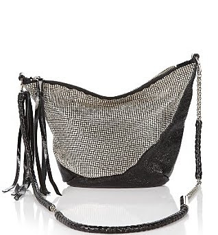 Chain Mesh & Leather Crossbody Bag