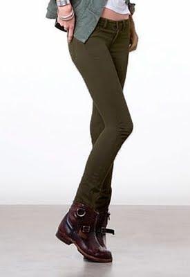 Army Green Skinny Twill Pants