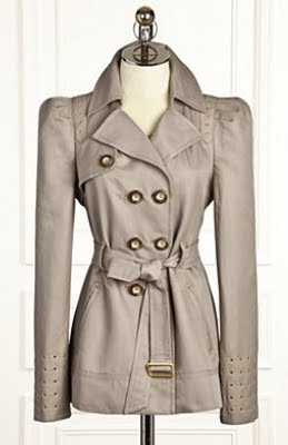 Studded Twill Trench