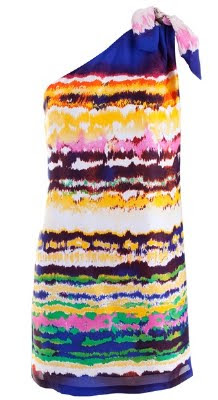 Silk Asymmetric Tie Dye Dress