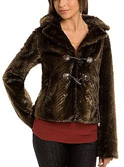 Toggle Faux Fur Coat