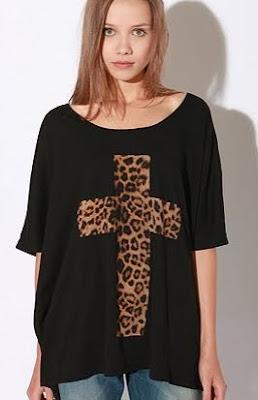 Leopard Cross Dolman Tee