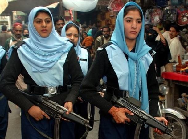 Pakistani female police officers patrol