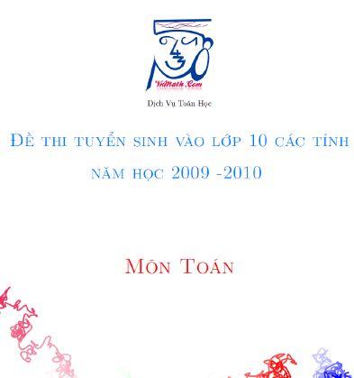 Điểm thi lớp 10 năm 2013 untitled Đề thi môn Toán vào lớp 10 các tỉnh năm học 2009 – 2010