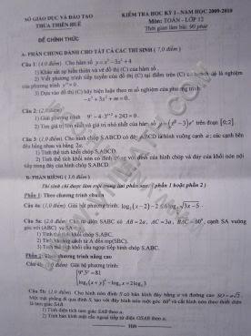 Đề thi học kỳ 1 môn Toán 12 Huế