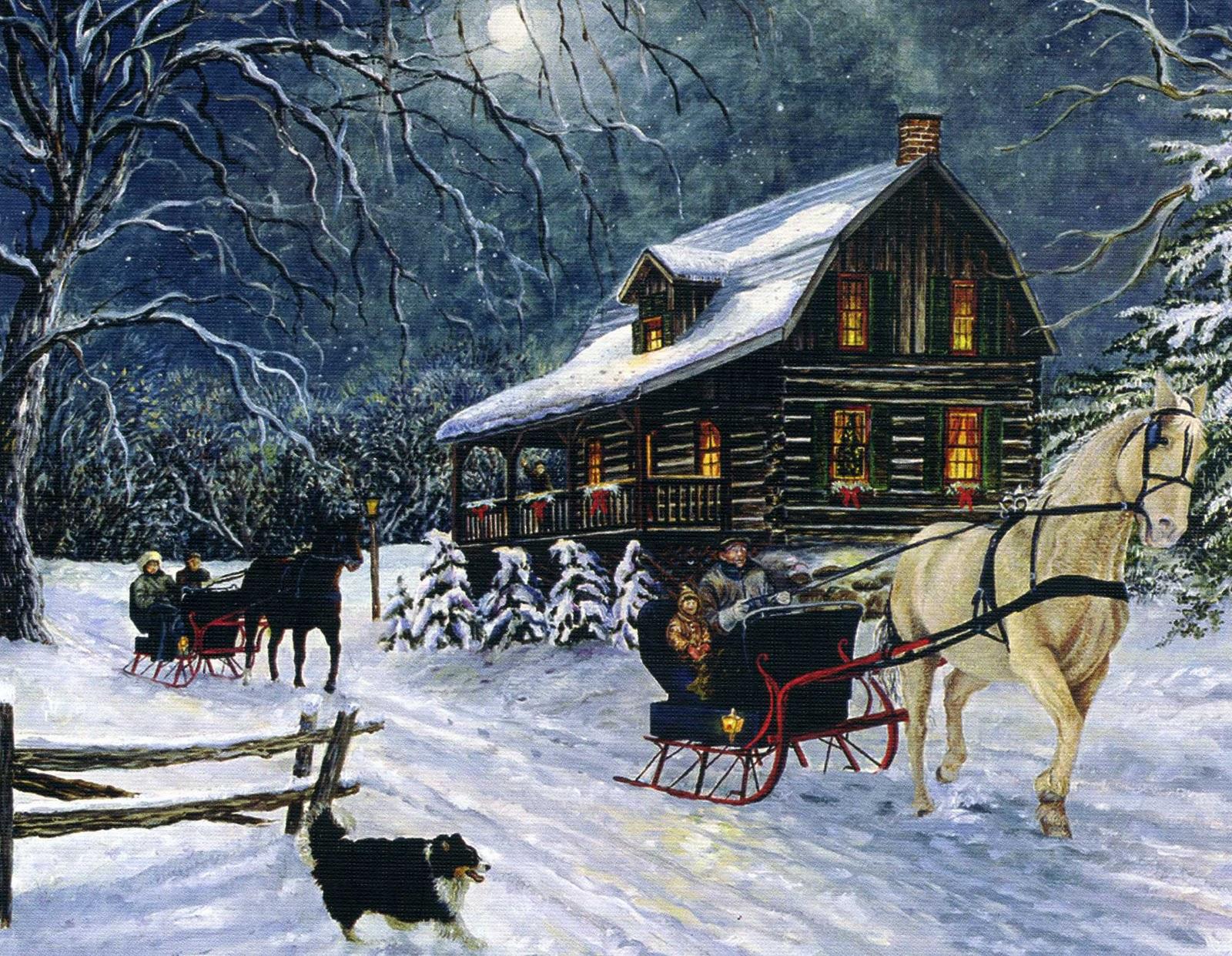 old cabin winter scene wallpaper - photo #23