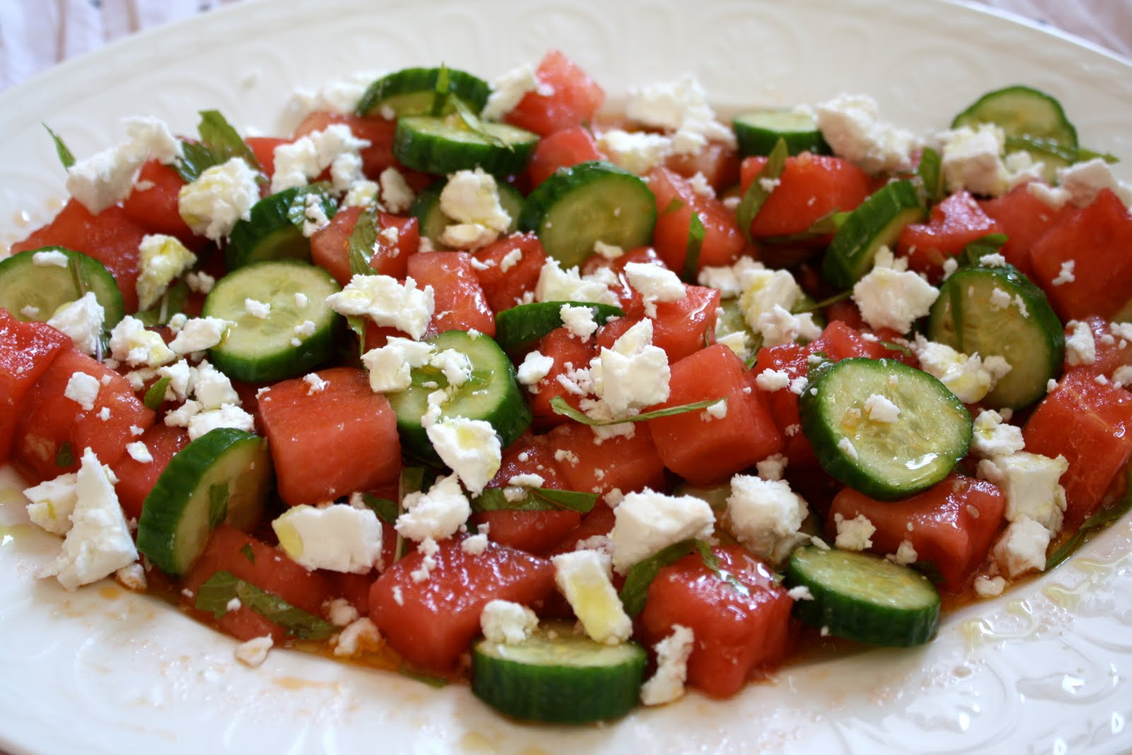Hey, Lady Grey: Cucumber, Watermelon & Feta Salad... This is summer on ...