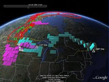 A Google Earth application reveals carbon dioxide in the lowest part of the atmosphere close to Earth's surface (green tracks) and carbon dioxide at higher altitudes that are immune from ground influences (red tracks).