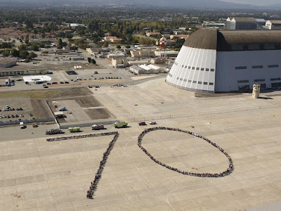 NASA Ames' employees in the shape of a 70