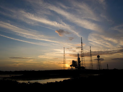Ares I-X rocket on Launch Pad 39B at sunset