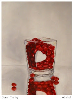 oil painting square shot glass of red hots valentine candy by Sarah Trefny