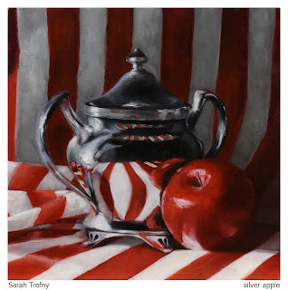 still life oil painting of red apple and silver sugar bowl by Sarah Trefny