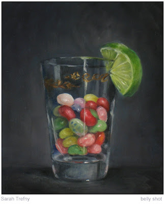 oil painting of Jelly Belly jelly beans in shot glass by Sarah Trefny