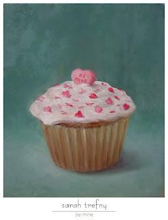 oil painting of valentine cupcake by Sarah Trefny