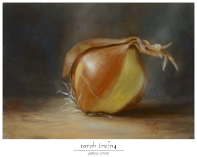 oil painting of yellow onion by Sarah Trefny