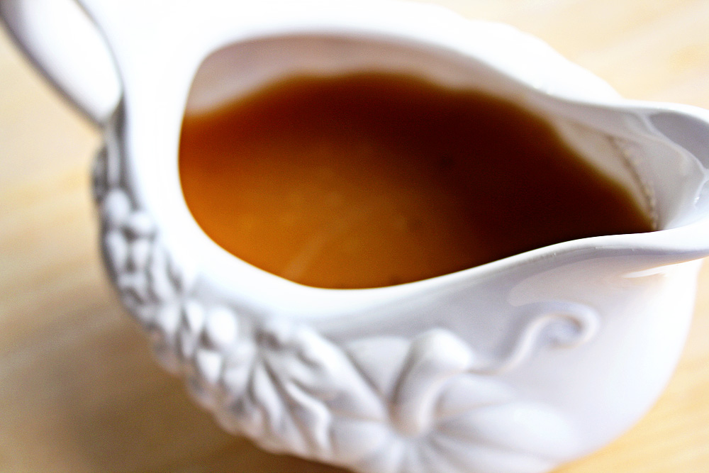 homemade gravy made from the pan drippings of the roasted turkey ...