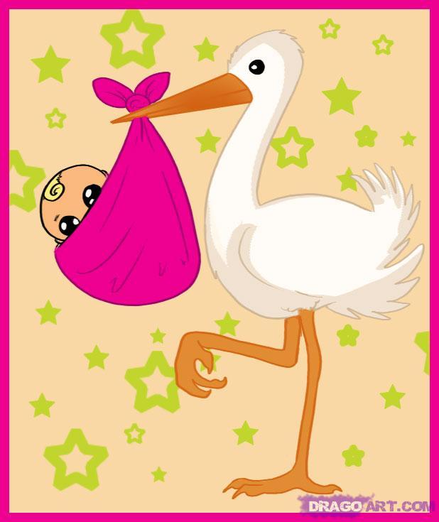 Como desenhar uma cegonha com o bebê no bico