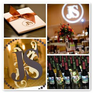 Monogram, gobo, wedding graffiti, favors, Buena Vista Palace wedding; DeanFoto.com (2007)