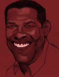 Denzel Washington Actor Art Drawing Caricature Eli Star Film Winner Paint