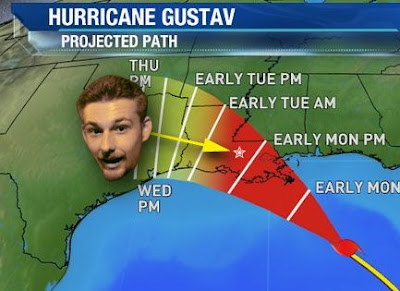 (rock you like a) hurricane gustav, projected path as of sunday at 5:00 pm cdt and with me being drunk