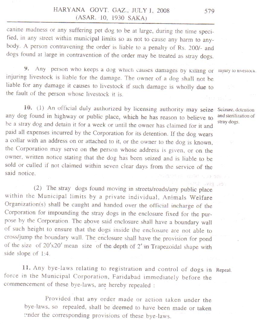 HARYANA MUNICIPAL CORPORATION - DOG BYE-LAWS, 2008