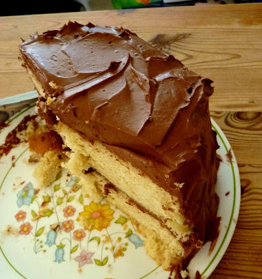 Golden Cake With Chocolate Sour Cream Frosting Recipe ...