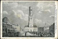 Belgische patriotten worden onder vuur genomen door de Hollanders op de Brugse Markt tijdens de woelige septemberdagen van 1830.