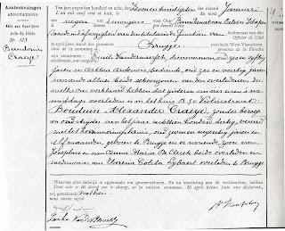 Overlijdensakte van Boudewijn Craeye van 26-01-1908. Stadsarchief van Brugge.