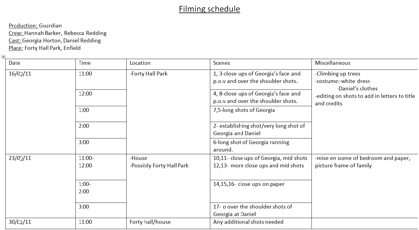 AS Media Coursework: Filming schedule