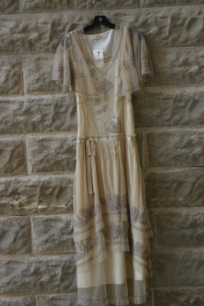 Russian Designer, Lace dress with Taupe Detailing