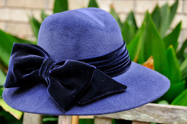 Navy fedora with velvet bow