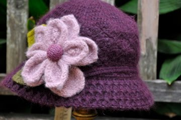 Crochet with pink flower