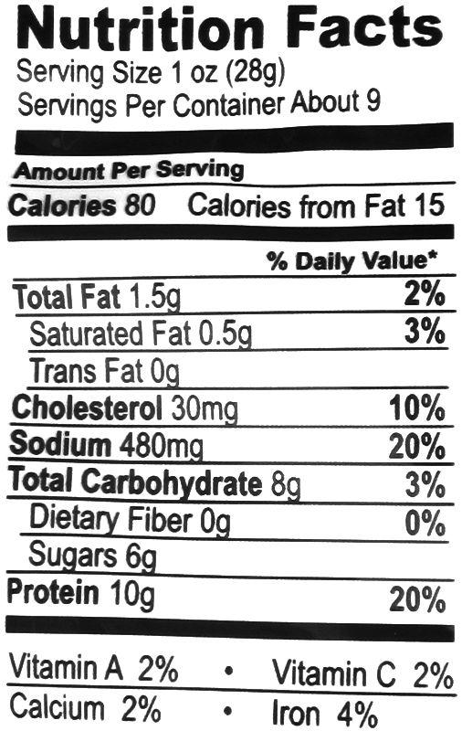 Oberto Pork Jerky Nutrition Facts