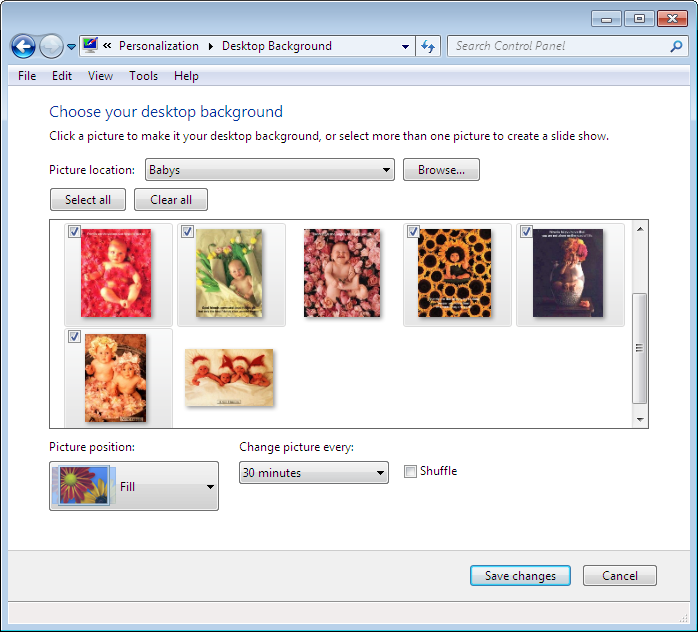 select or deselect the image