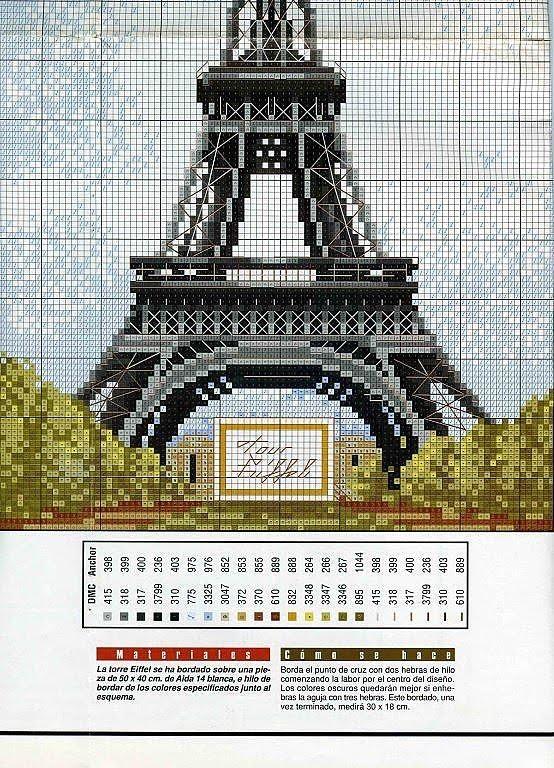 Ponto cruz - Torre Eifel