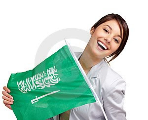 Sexy Hot Saudi Women - Model with Saudi Flag