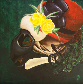 Victorian Macaw Skull Acrylic Painting